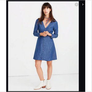MADEWELL DENIM LILYBLOSSOM CHAMBRAY MINI DRESS